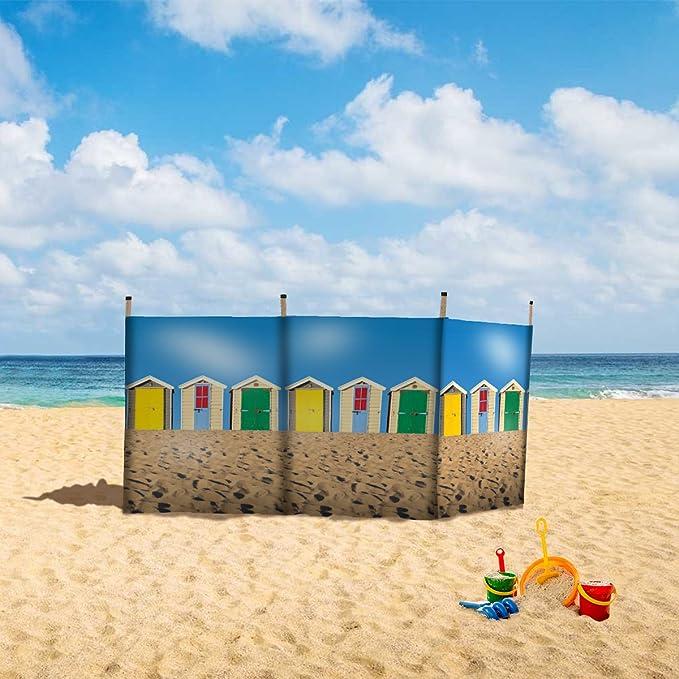 Laeto - Cortavientos para Deportes y al Aire Libre, 4 Polos de 4 Pulgadas, diseño de caseta de Playa para el Aire Libre en la Playa: Amazon.es: Deportes y ...