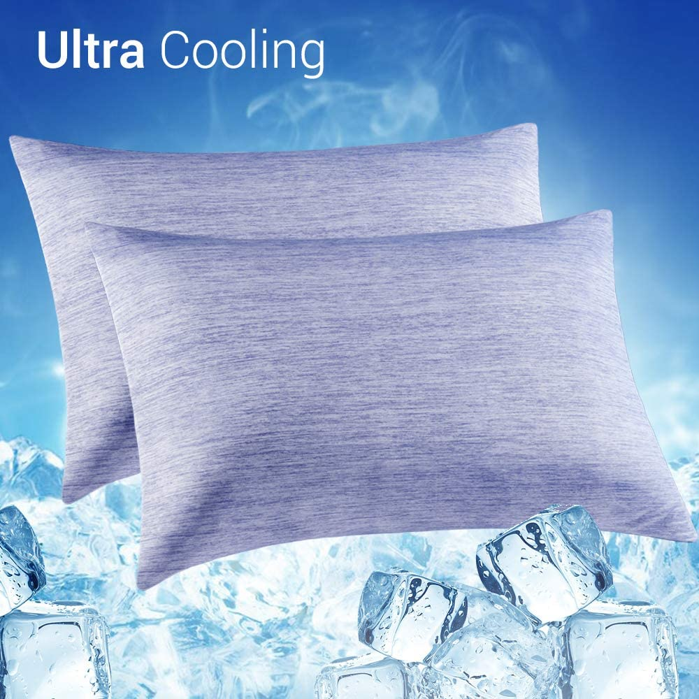 LUXEAR Cooling Pillowcase, 2 Pack Cooling Pillow Cover with Japanese Q-Max 0.55 Cooling Fiber, Breathable Soft, Cooling Eco-Friendly, Hidden Zipper Design, Queen Size(20x30 inches)-Blue