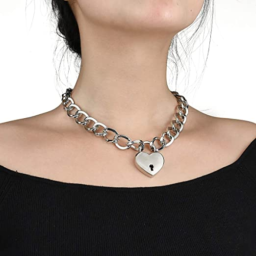 6a8ae8e117a70 Lover Heart Padlock Necklace, Choker Necklaces for Women with Lock and Key,  Metal Padlock Choker Pendant 18in