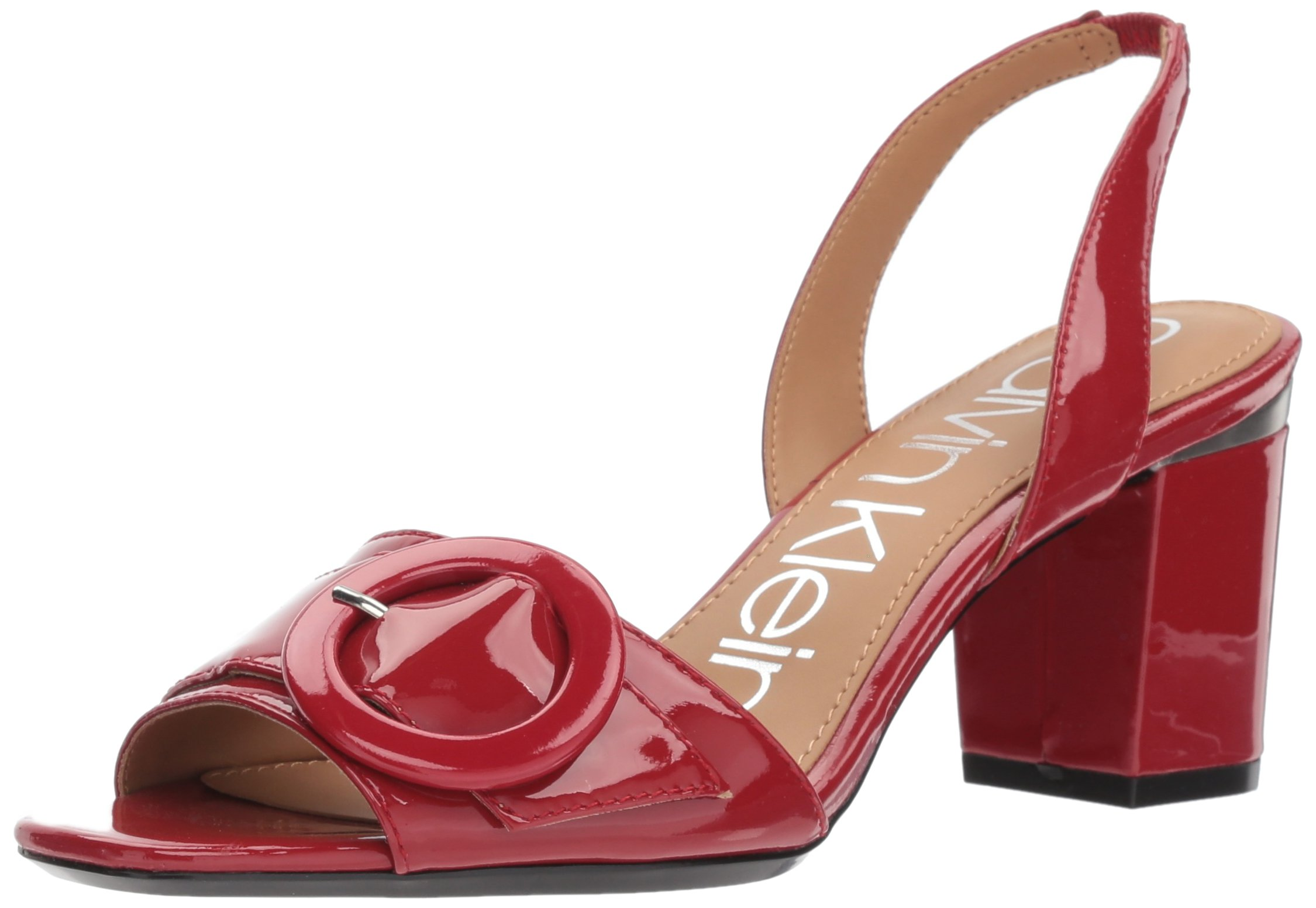 Calvin Klein Women's Claudia Heeled Sandal, Crimson Red, 9.5 Medium US