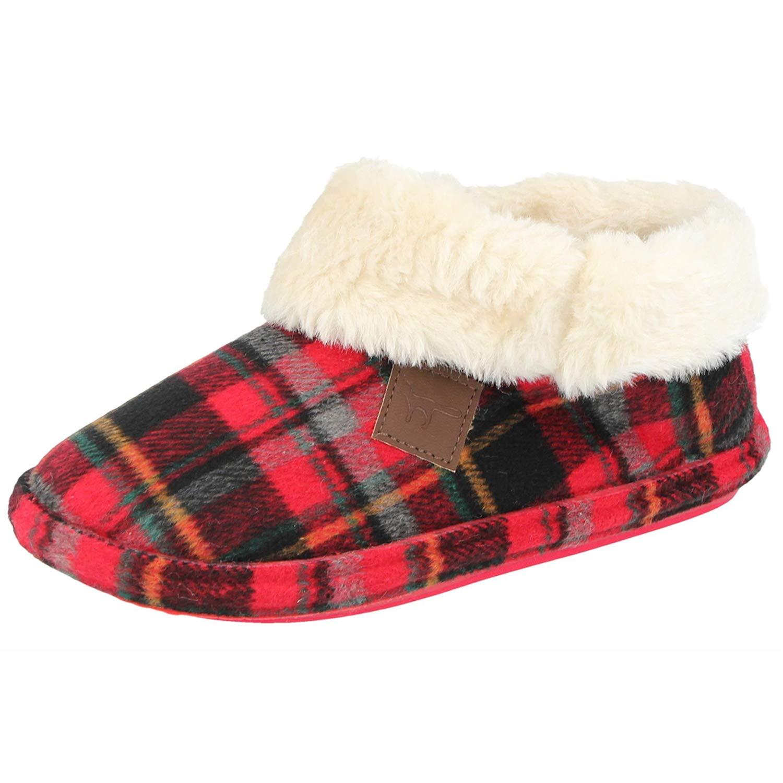 Womens Jo /& Joe Faux Suede Sheepskin Fur Collar Fleece Bootee Slippers-Chiltern