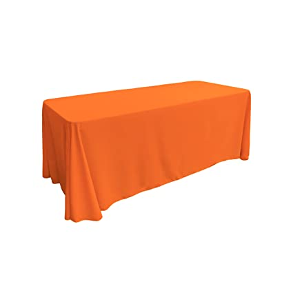 Charmant LA Linen Polyester Poplin Rectangular Tablecloth, 90 By 156 Inch, Orange