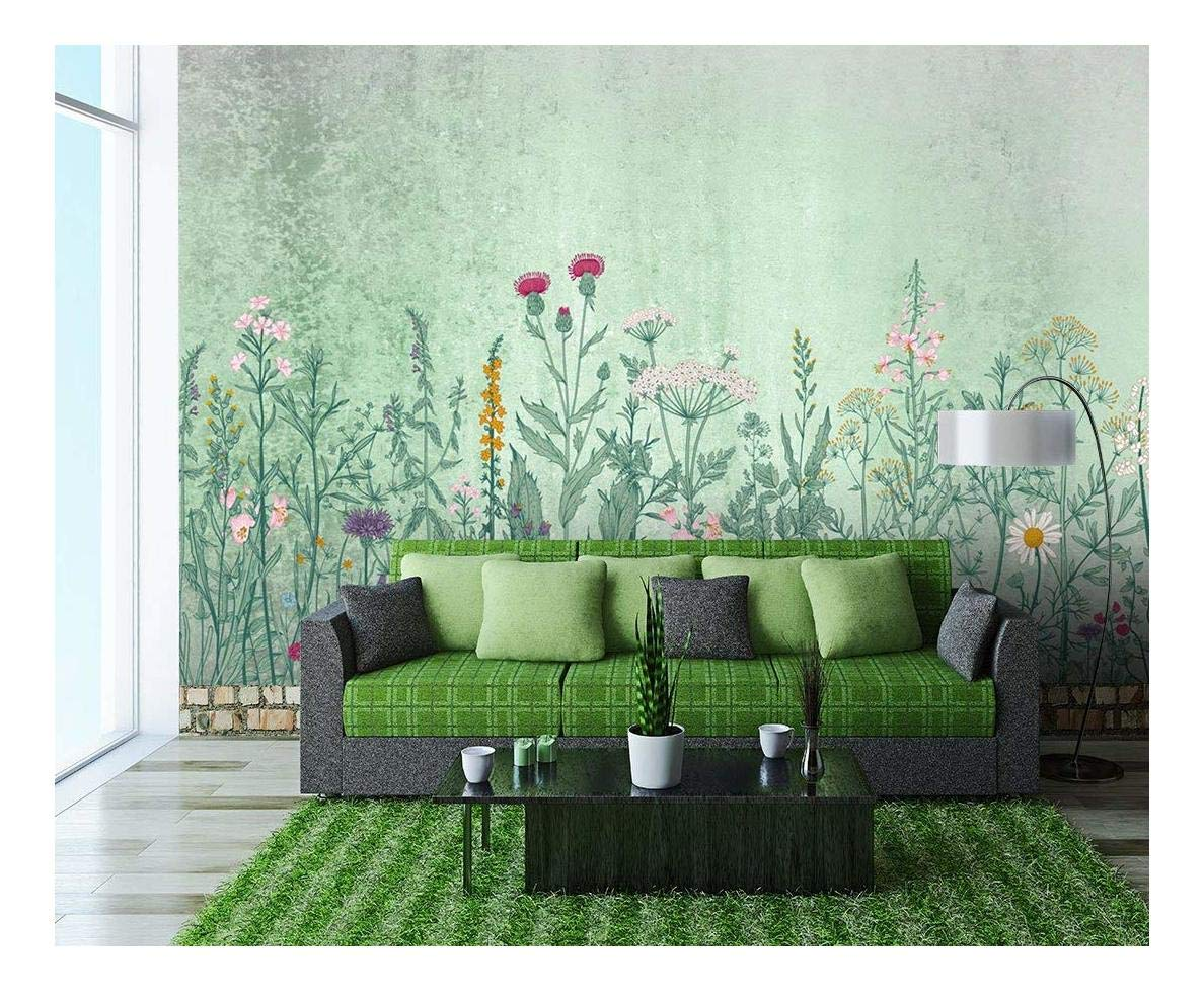 Large Wall Mural Retro Style Flowers And Plants Of Various Colors