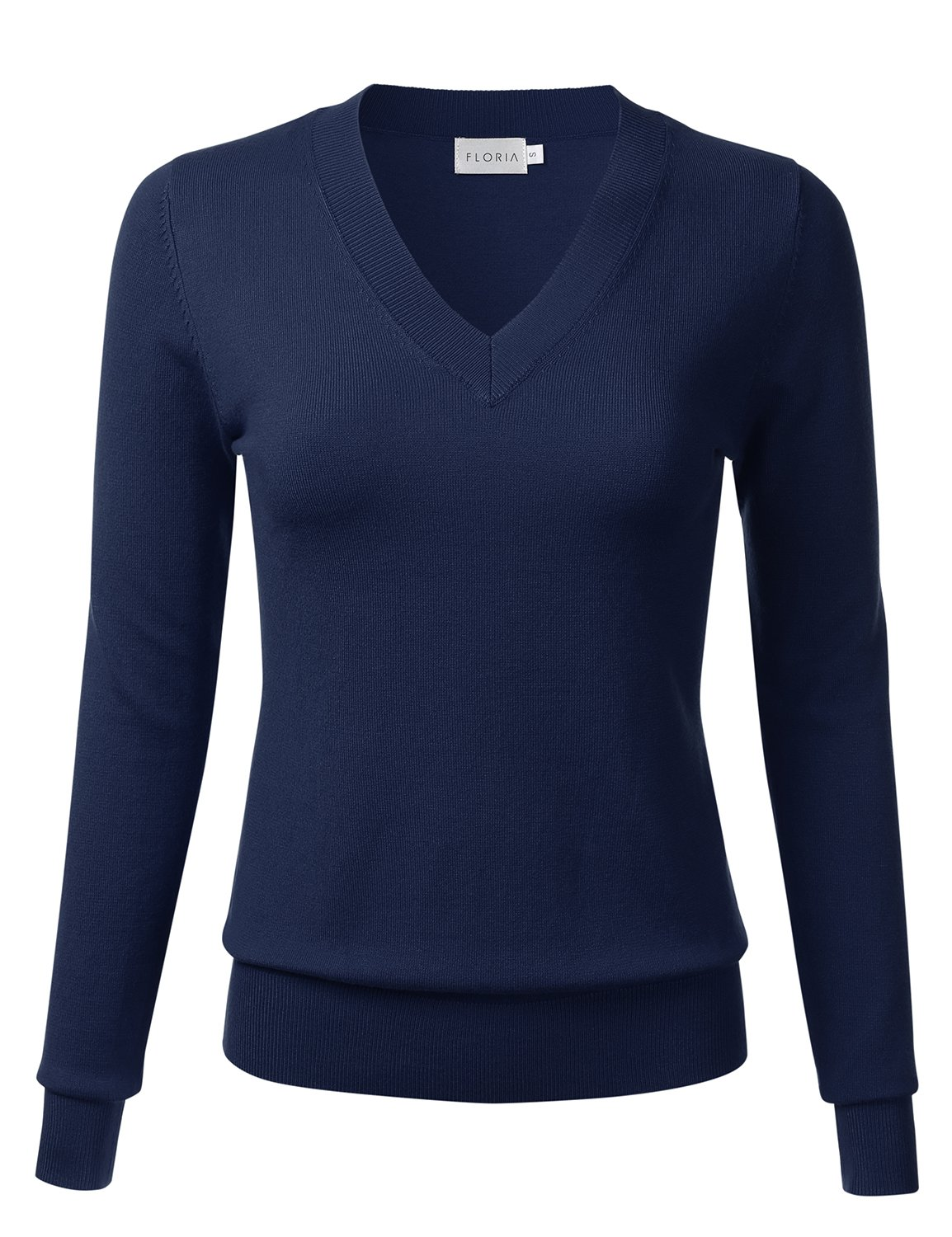 FLORIA Womens Soft Basic Thick V-Neck Pullover Long Sleeve Knit Sweater Navy L