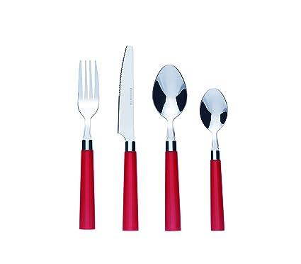 Bon Florentine Juego de cubertería de 16 piezas de acero inoxidable, color rojo