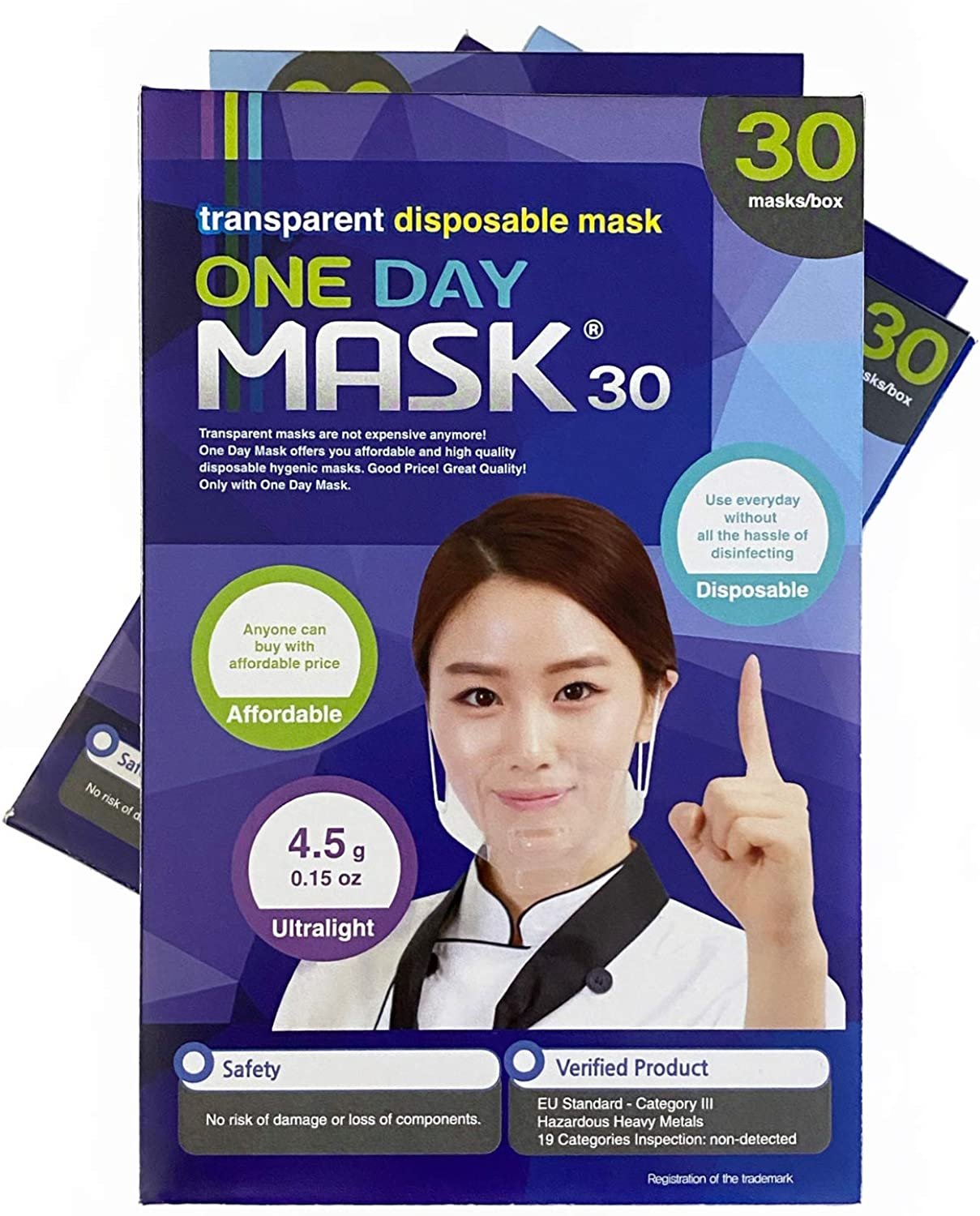 One Day Transparent Mask (Made in Korea) - Mouth Shield / Mask / Disposable/Ultralight Weight/Seamless Design/Safety/Food Handling/Food Safety/Catering (Pack of 30)