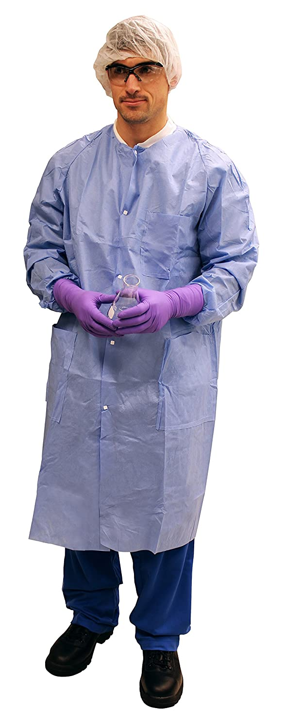 Knit Collar /& Cuffs Kimberly Clark Basic Plus Lab Coats 25 // Case Kimberly-Clark Corporation 1187A54CS Blue Protective 3-Layer SMS Fabric 10034 Unisex 2XL