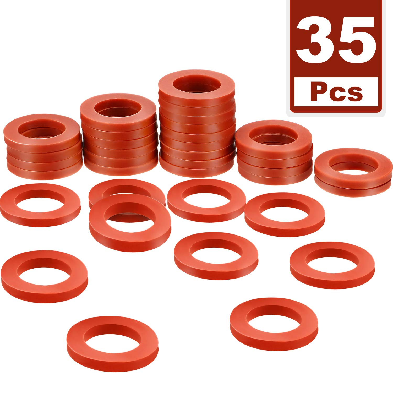 Tatuo 35 Pack Garden Hose Washers Silicone Rubber Washers Seals O Rings Red Soft Silicone Gasket Fittings for 3/4 Inch Garden Hose and Water Faucet
