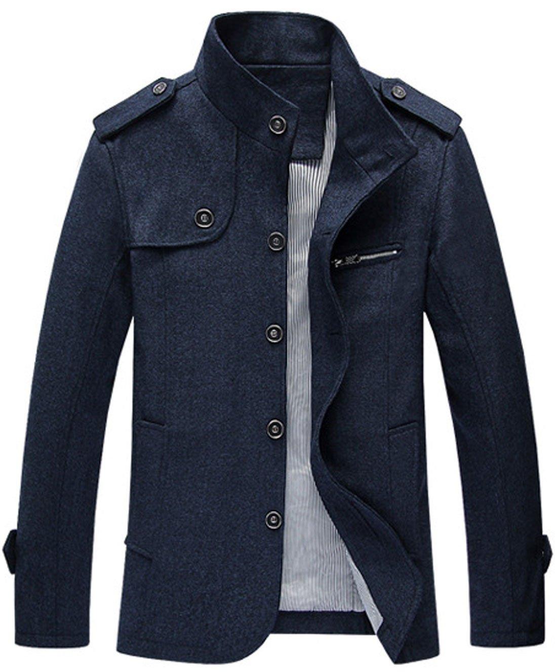 Chouyatou Men's Military Stylish Single Breasted Natural Fit Stripe Lined Wool Pea Coats (Medium, Dark Blue)