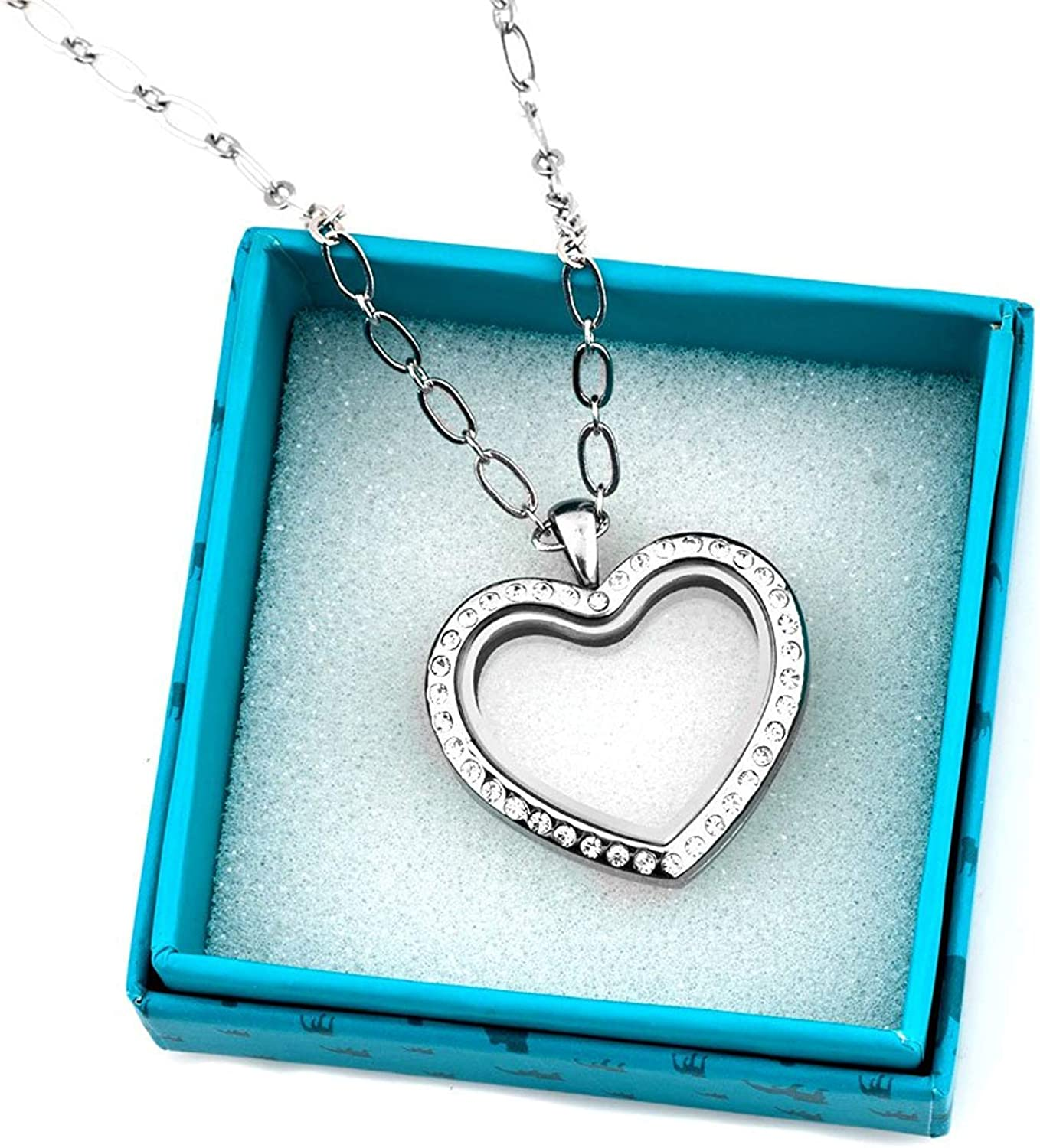 Cherityne Guitar Floating Charm Locket Necklace Pendant with Magnetic Glass
