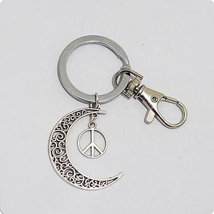 Charm plata luna paz símbolo charms llavero, luna símbolo de ...