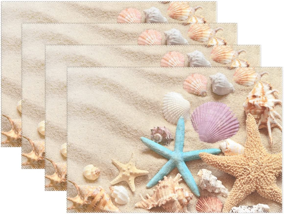Starfish Shell Vinyl Placemats Set of 4 NEW 12x18 Indoor Outdoor Tropical Beach