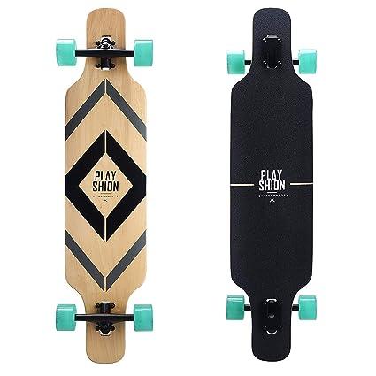 Playshion Freeride Freestyle Drop Through Longboard Skateboard Complete 39  Inch 8ae37e8d221