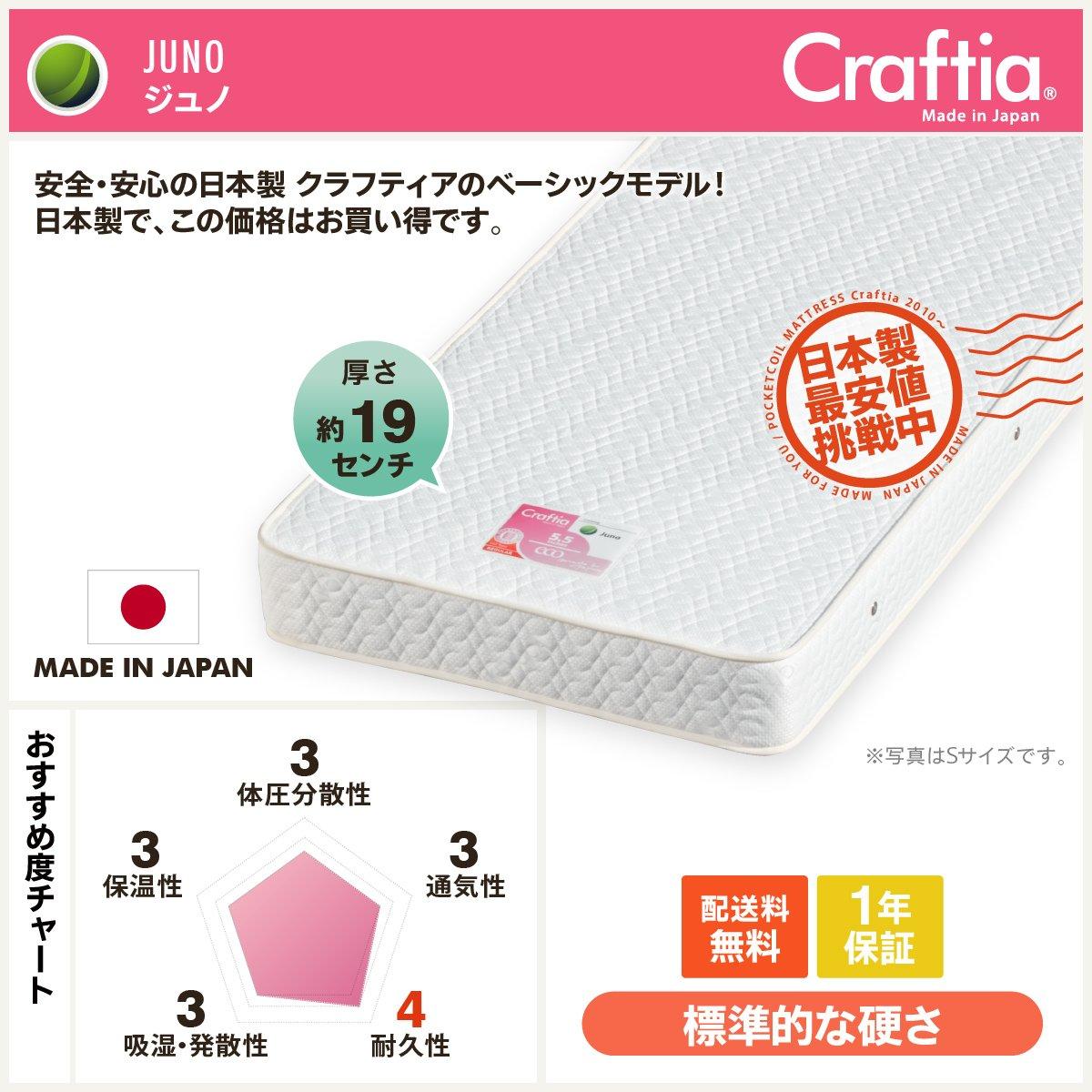 マットレス日本製 セミシングル90 ジュノ B00KBNXBIO [2] SS90(セミシングル90)幅90×奥行195×高さ19cm  [2] SS90(セミシングル90)幅90×奥行195×高さ19cm