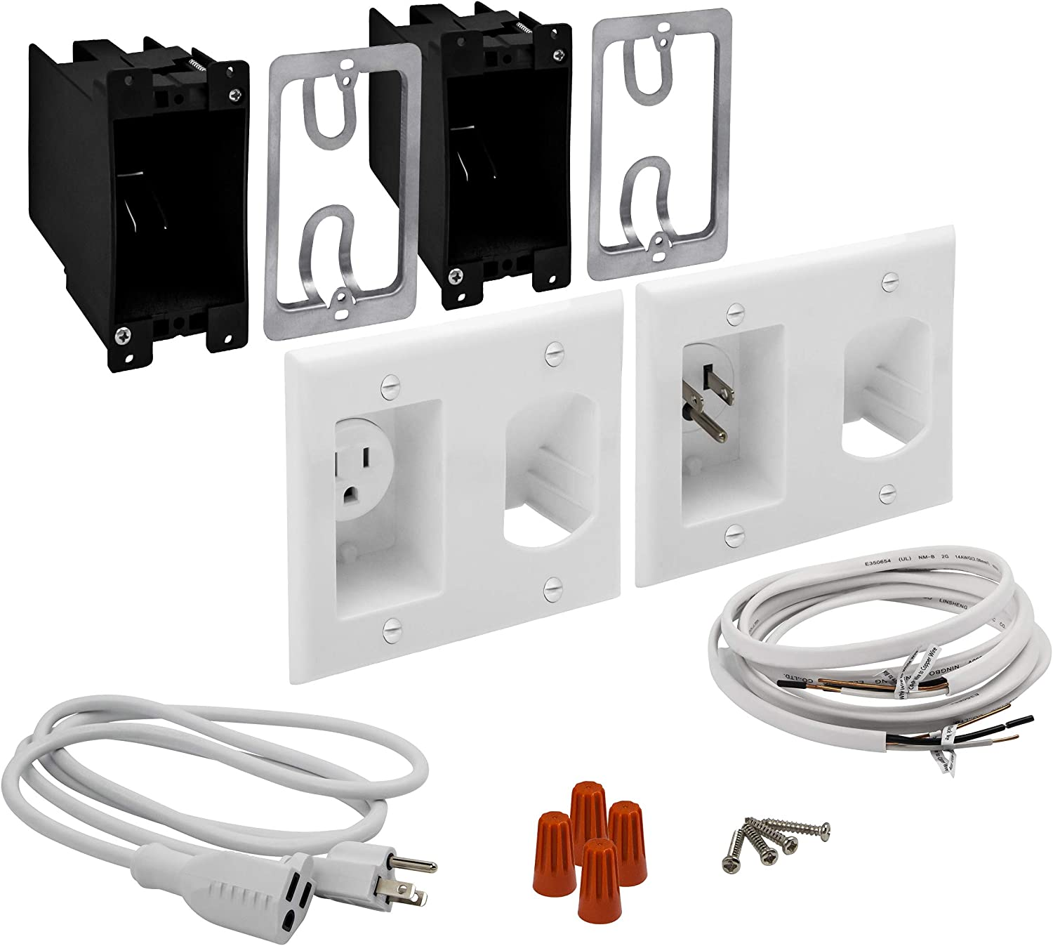 TOPGREENER Cable Management System In-Wall for Wall Mounted Flat Screen TV, 2-Gang Low Voltage Pass Through Cable Concealer Wall Plates, TG115RPS, White