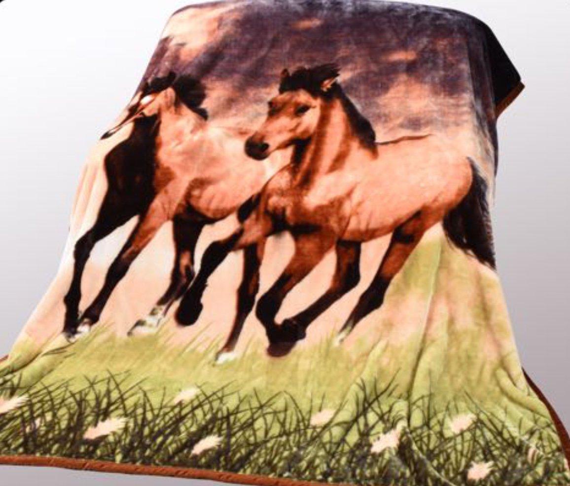 Wild Animal Twin Horses Print Blanket , TV, Cabin, Couch,Plush,Warm, Bedcover Throw , Full Queen, 75''Wx90''H , Silky Mink Cozy, For Girls,Boys, Kids,Men,Women