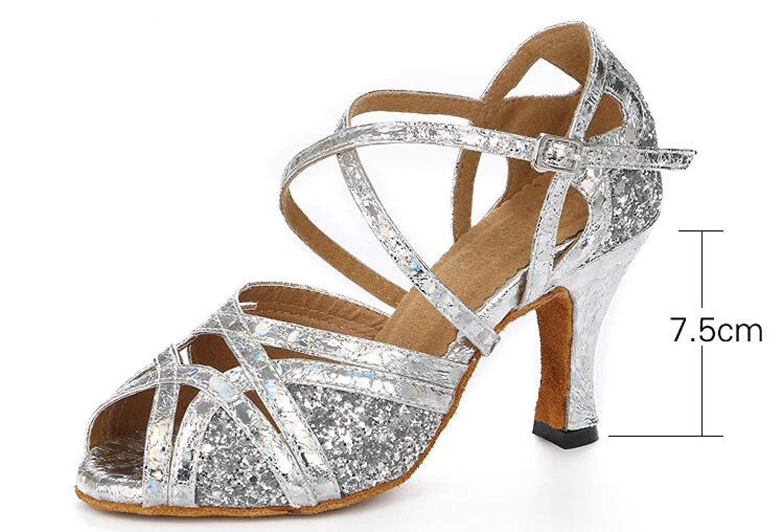 Frauen Glitter Pailletten Ballsaal Latin Dance Schuhe Salsa Tango Tee Samba Modern Jazz Schuhe Sandalen High Heels Goldheeled7.5cm-UK3.5   EU34   Our35