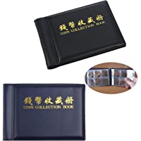 2 Pack Coin Collection Album 60 Coin Holders Can Hold 50P and 2 Pound Coins Black and Blue
