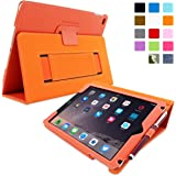 Snugg iPad Air & New iPad 9.7 inch 2017 Case - Smart Cover Case with Kick Stand & (Orange Leather) for the Apple iPad Air 1 (2013)