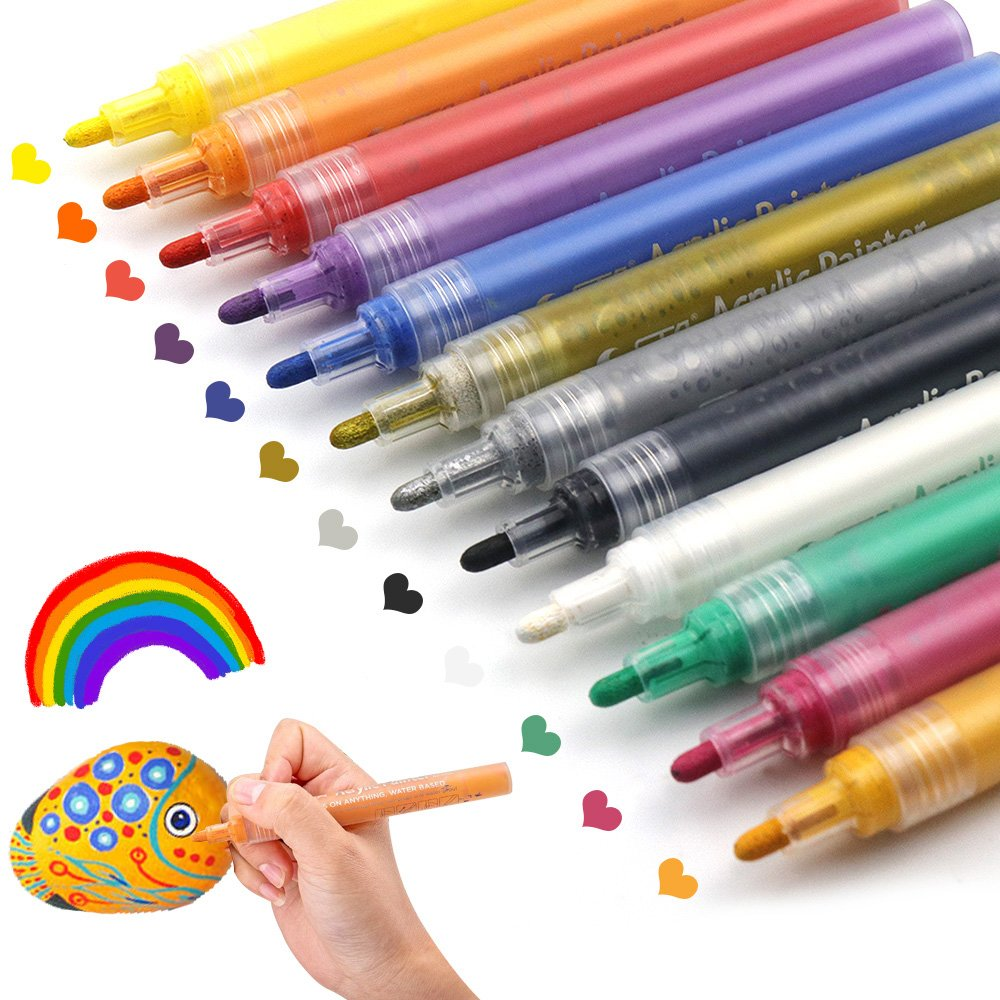 Acrylic Paint Pens for Rocks Painting, Ceramic, Glass, Wood, Fabric, Canvas, Mugs, DIY Craft Making Supplies. Water-Based Acrylic Paint Marker Pens Permanent. 12 Colors/Set JR.WHITE 11802930
