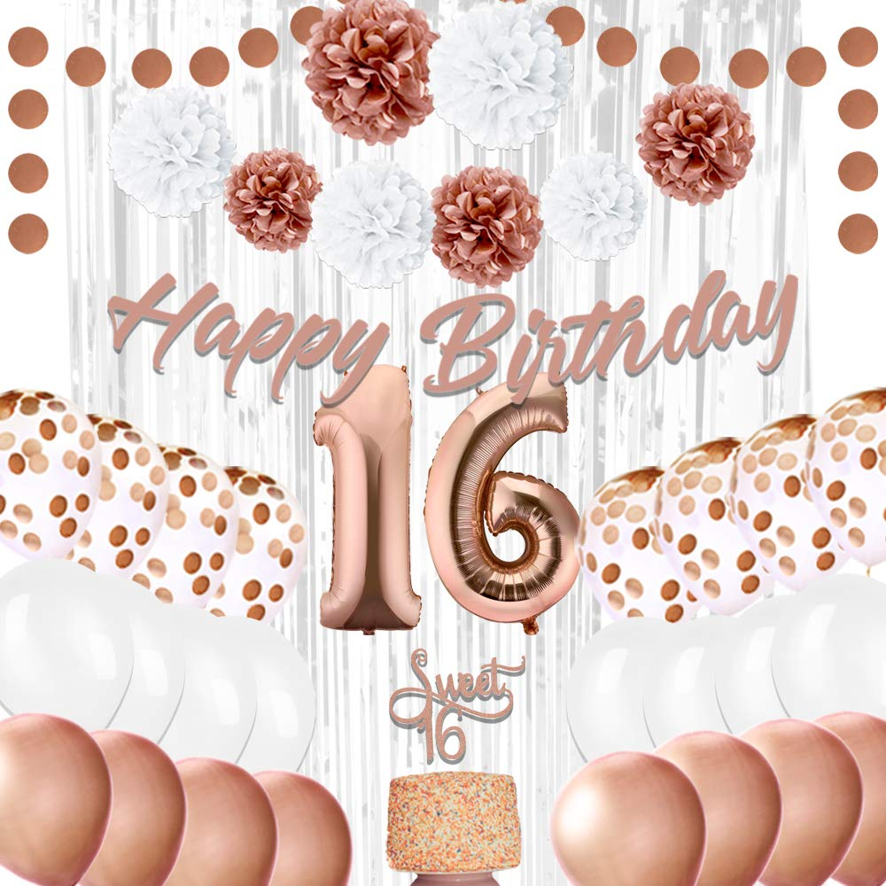 EpiqueOne 16th Birthday Party Decorations - Balloons Party Supplies Kit - Sweet 16 Rose Gold Décor with 2 Silver Curtains, Balloons, Banner, Mylar & Pompons - Royal Event Décor Props for Girls by EPIQUEONE