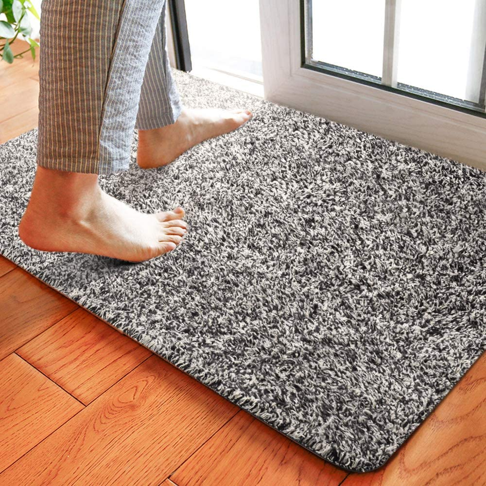 "Delxo 18""x30"" Magic Doormat Absorbs Mud Doormat No Odor Durable Anti-Slip Rubber Back Low-Profile Entrance Door Mat Large Cotton Shoe Scraper Pet Mat Machine Washable (Grey)"