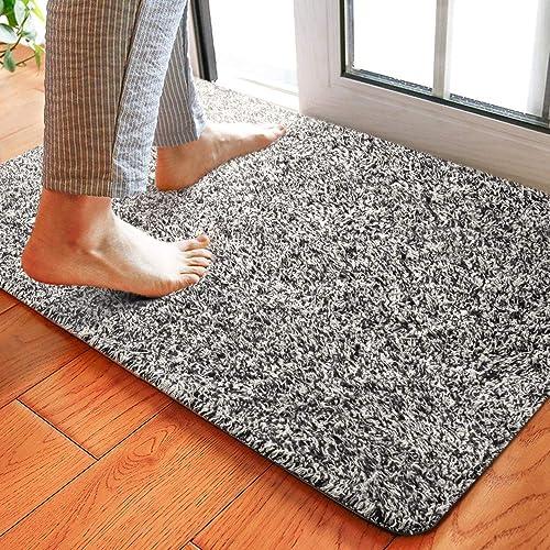 Delxo 24 x 36 Inch Magic Doormat Absorbs Mud Doormat No Odor Durable Anti-Slip Rubber Back Low-Profile Entrance Door Mat Large Cotton Shoe Scraper Pet Mat Machine Washable Grey 24 x36
