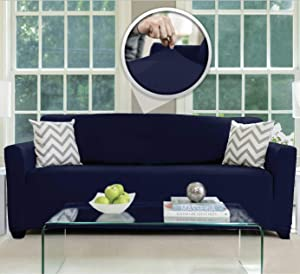 Sofa, Shield Original Fitted 1 Piece Large Sofa Protector, Many Colors, Seat Width to 70 Inch, Stretchy Furniture Slipcover, Fastener Straps, Spandex Couch Slip Cover Throw for Pets, Dogs, Navy Blue