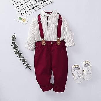 Haokaini 2 unids/Set bebé niño Caballero Ropa Trajes Rayas ...