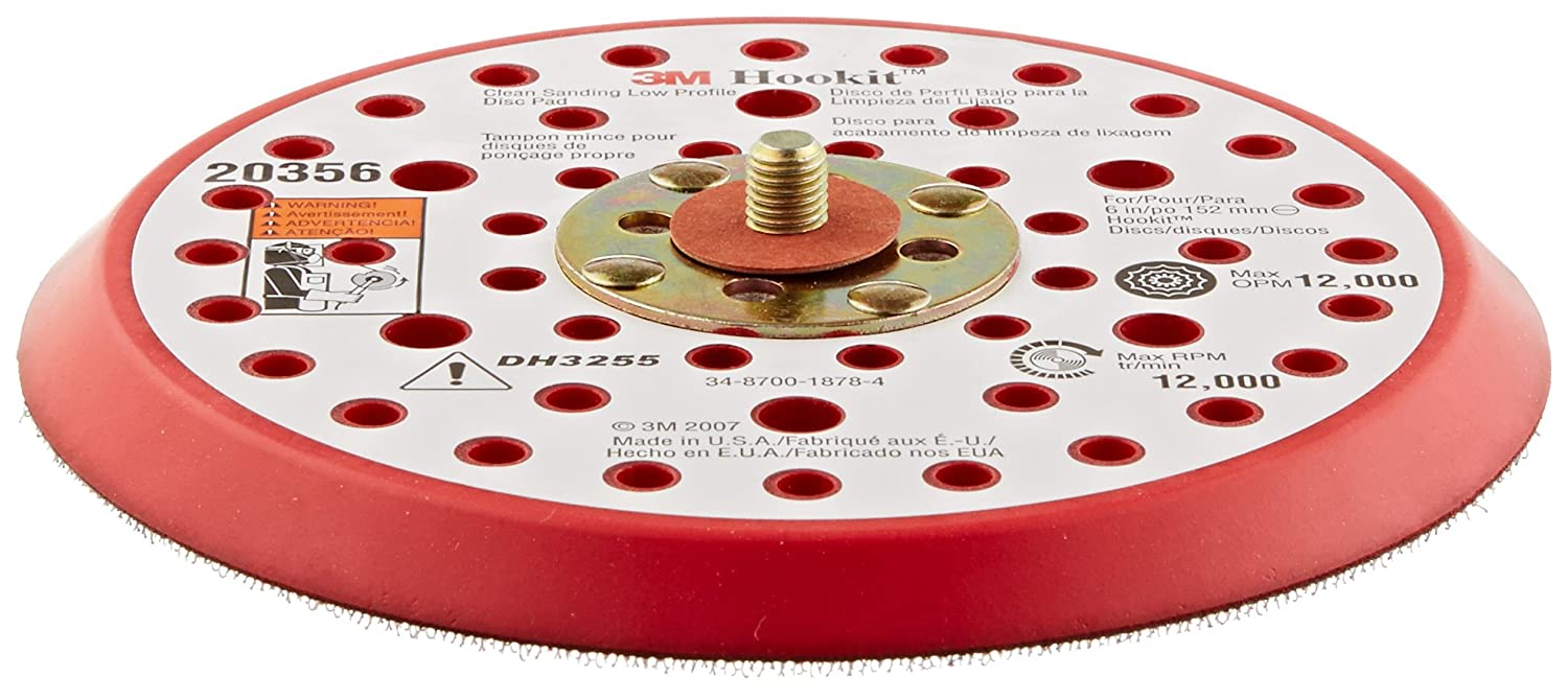 6 Diameter x 3//8 Thick Red 20465 6 Diameter x 3//8 Thick 5//8 Center Hole Diameter Pack of 1 5//8 Center Hole Diameter 5//16-24 External Thread 3M Clean Sanding Low Profile Disc Pad 861 Plus Hook and Loop Attachment 49 Holes