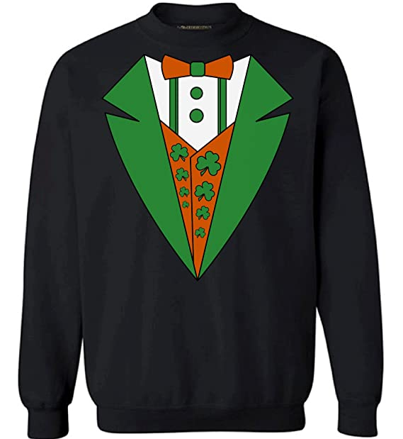 9b754a1a0 Awkward Styles Irish Tuxedo Sweatshirt Funny Leprechaun Suit Sweater St.  Patrick Black S