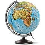 """JPC Globe terrestre lumineux 30 cm """"First"""" en RELIEF bleu"""