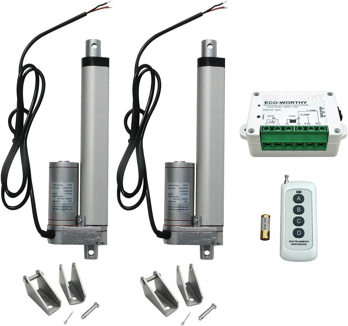 Paquete de 2 accionamientos lineales ECO WORTHY resistentes, de 12 V, motor de 1500 N, mando a distancia y soportes incluidos, 6 Inch, 2pcs Actuator + Remote Control Kit