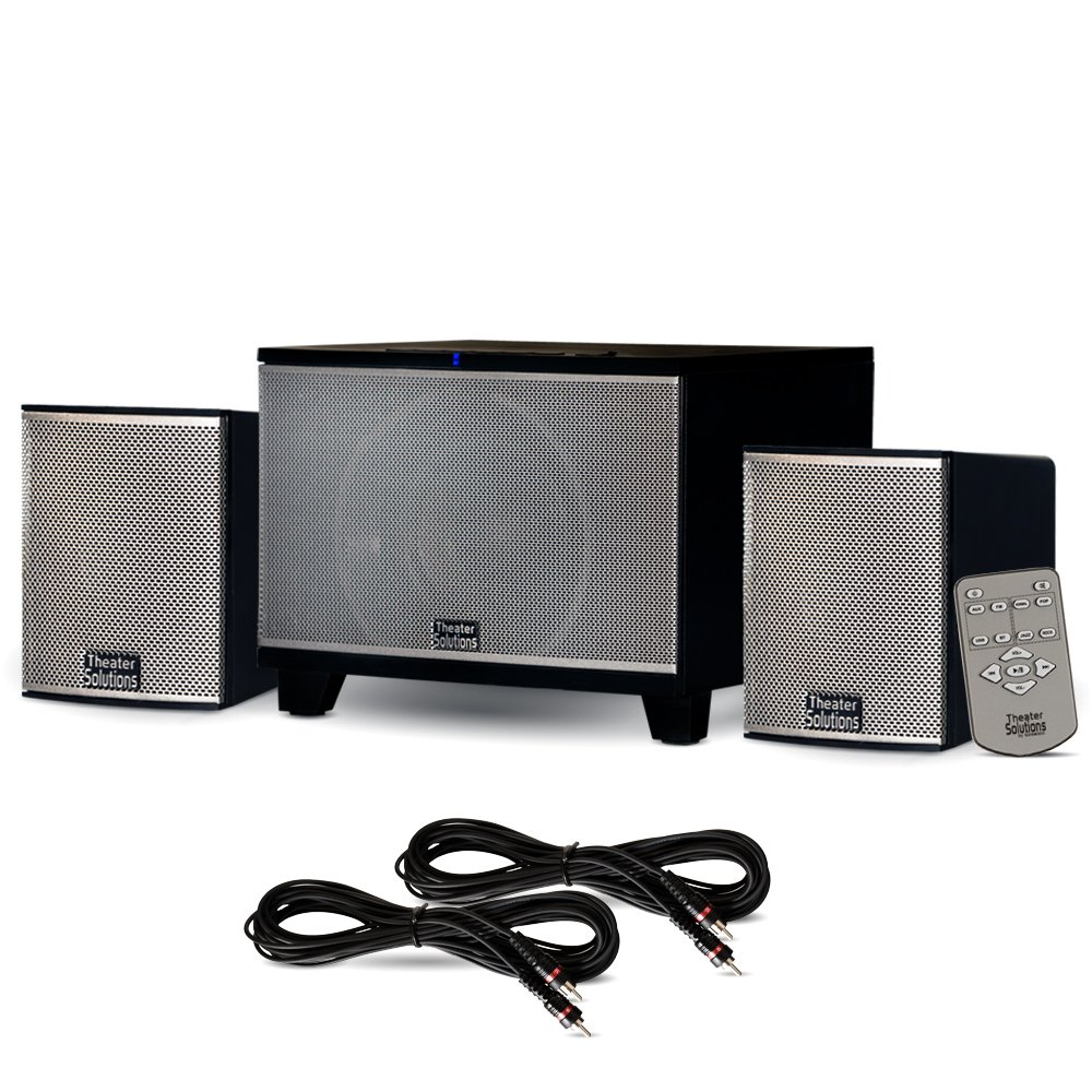 Theater Solutions TS220 Powered Bluetooth 2.1 Speaker System with FM Tuner and 2 Extension Cables by Theater Solutions