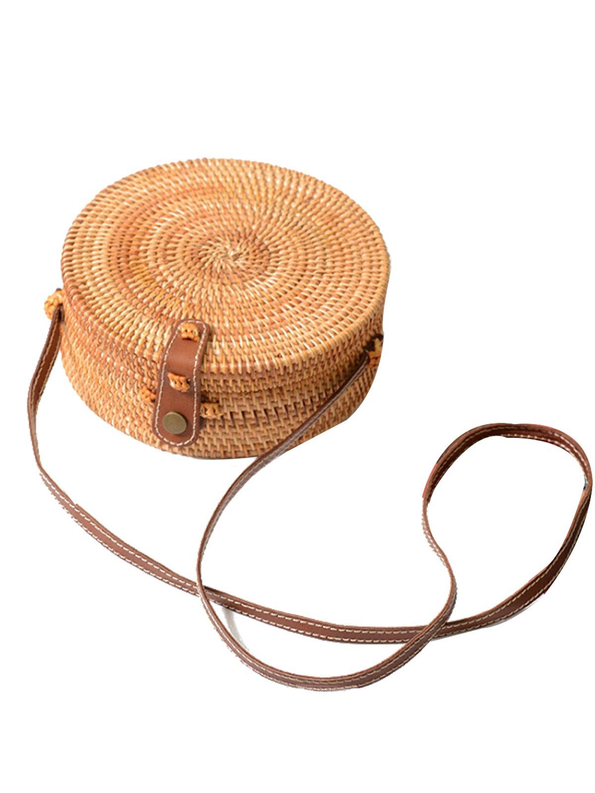 PORALA Round Woven Ata Rattan Bag Summer Beach Purse Straw Bali Bag Crossbody Shoulder Bag, Handwoven Handbag