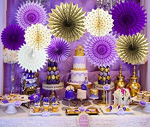 Qian's Party Purple Gold Baby Shower Decorations Purple Gold Paper Fan Flower for Purple Gold Bridal Shower Decorations/Purple Gold Birthday Party Decorations/Photo Backdrop