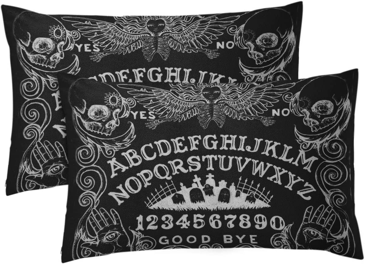Aikul Set of 2 Throw Pillow Cover Spirit Witch Board Black Gothic Goth Occult Witchcraft Pillow Case Cushion Cover Lumbar Pillowcase Decoration for Couch Sofa Bed Car, Standard Size 12 x 20 inchs