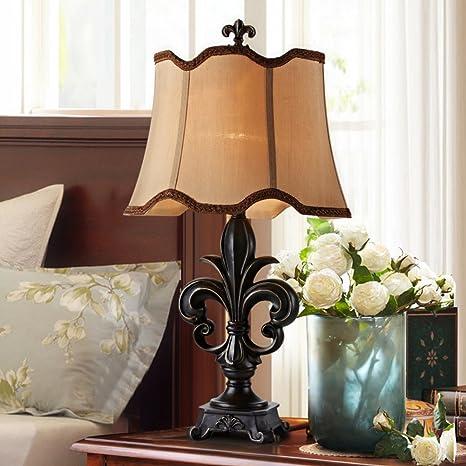YUE Lámpara American vintage/Lámpara de mesa rústica glamour ...