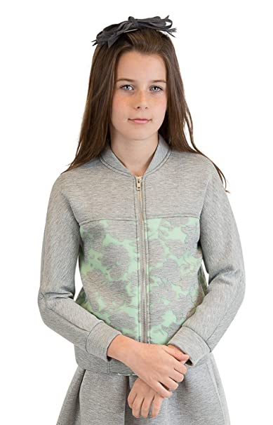 71c1af6b52ab Nuvo Girls Kids Scuba Floral Burnout Front Zip Bomber Jacket: Amazon.ca:  Clothing & Accessories