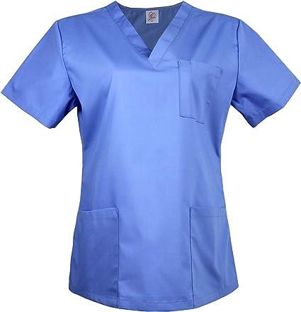 JONATHAN UNIFORM Camisa Médica Uniforme Sanitario para Mujeres Cuello V Manga Corta, Camisa de Uniforme Médico Ropa Casaca Sanitaria (Azul Cielo, S): Amazon.es: Ropa y accesorios