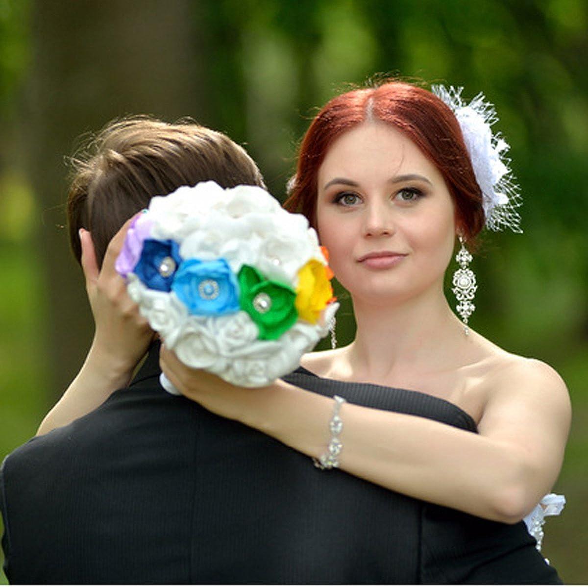 mecresh Argent Long Mariage Chandelier Cristal Autrichien Boucles doreilles pour Femme mari/ée Demoiselle dhonneur