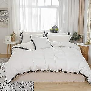 Softta White Duvet Cover Queen 3 Pcs Boho Bedding Ruffle Tassel Farmhouse Duvet Covers Fringed 100% Washed Cotton Zipper Closure Black and White