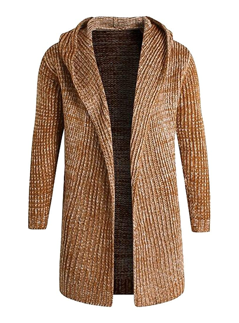 Pivaconis Mens Hooded Knitted Long Sleeve Stylish Open Front Sweater Cardigan