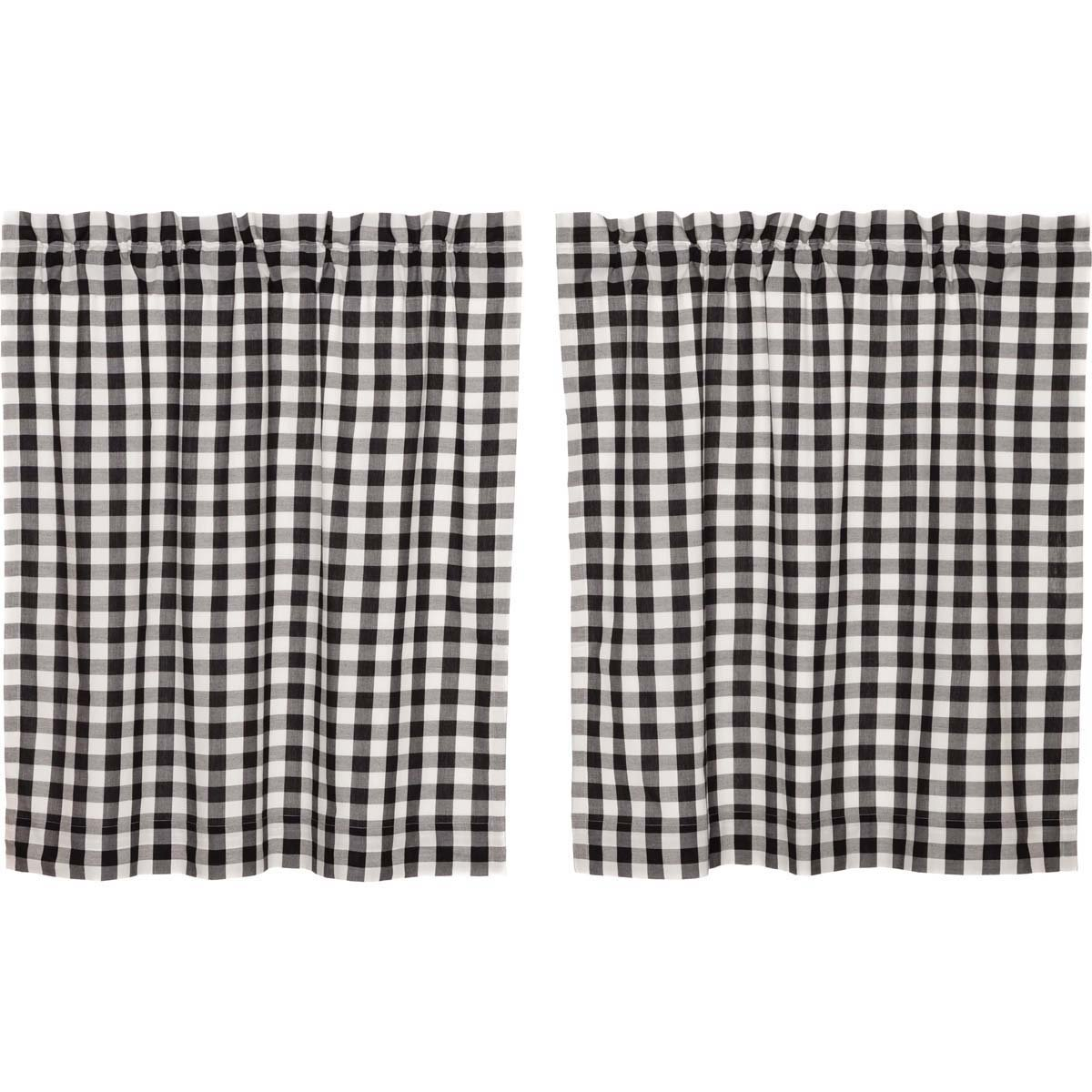 VHC Brands Farmhouse Classic Country Curtains Annie Buffalo Check Lined Tier Pair, L36 x W36, Black