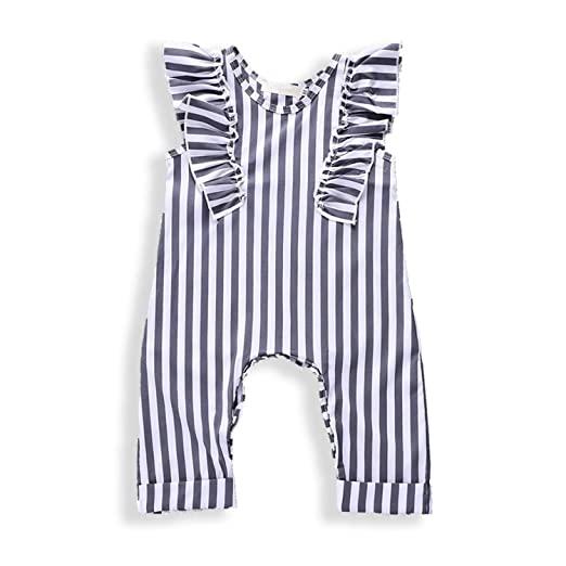 2cbfe518742 Zukuco Baby Girls Romper Sleeveless Ruffle Jumpsuit Stripe Print Bodysuit  Button Onesie(12-18M