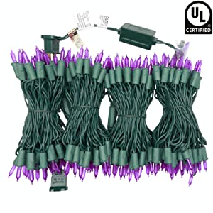 UL Certified Purple LED Christmas String Lights, 66 Ft 200 LED Commercial Grade Stay Lit Christmas Light Set, Connectable Home Decor Lights for Patio Garden Wedding Holiday Halloween (Purple)
