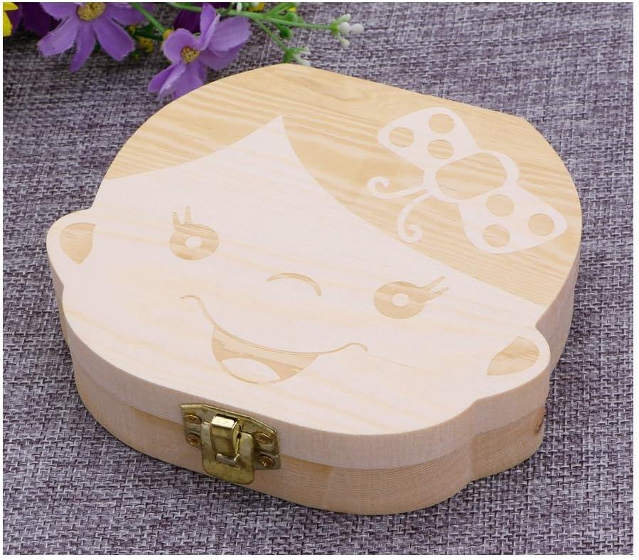 caja de recuerdo de madera con dise/ño de hada con dientes de leche ideal como regalo para baby shower Talla:For Boy Caja de recuerdos para dientes de beb/é