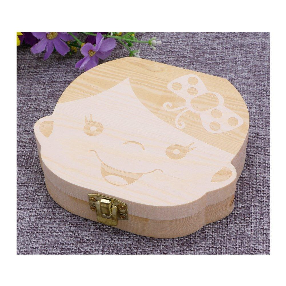 Baby-Zahnbox Souvenir-Box sch/önes Baby-Willkommensgeschenk Aufbewahrungsbox Milchz/ähne Holzkiste s/ü/ße Holzschachtel f/ür die Zahnfee