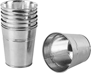 KINJOEK 8 Packs Galvanized Bucket Metal Planter Round Flower Pot Plant Basket for Balconies, Gardens, Patios, Office, Parties and Weddings, 4.72 x 4.72 x 3.54 Inch
