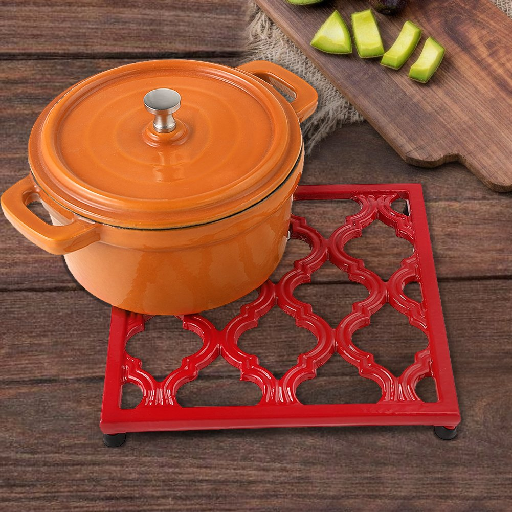 Square Cast Iron Trivet Red Metal Trivets for Kitchen Dining by JOGREFUL